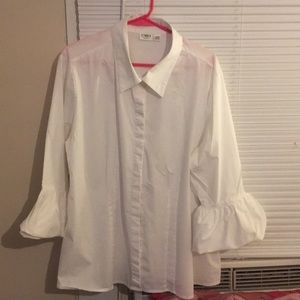 Cato white button down shirt with bell sleeves